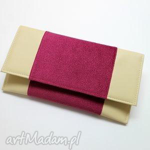 84e42216bcab0 ręcznie wykonane kopertówka - jasny beż i tkanina fuksja