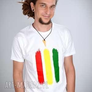 koszulka biała rasta - męska, rasta, reggae, jamajka, prezent, t shirt, dready