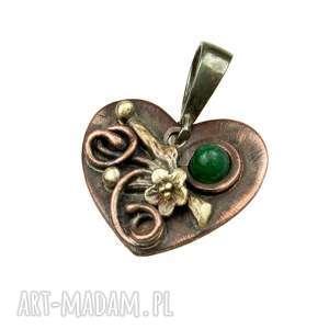 a549-2 serduszko z awenturynem wisiorek - wisiorek, miedziany, kwiaty, dla-mamy