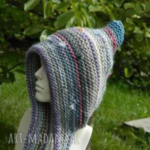 Czapa etno elf 100% wełna czapki aga made by hand kolorowa