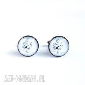 yenoo żurawie - spinki do mankietów, metalowe, szklane