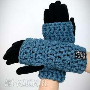 rękawiczki 18 - niebieskie, mitenki, rękawiczki, zestaw, komplet