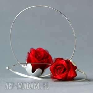 shambala srebrne kolczyki koła różyczki, duże czerwone róże na kole