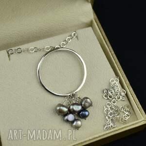 handmade naszyjniki długi naszyjnik z dużym kołem perłami srebro