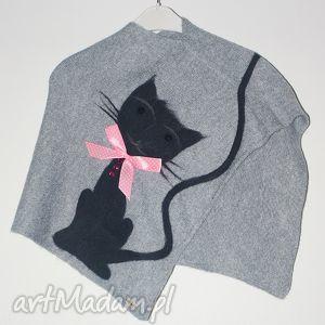 ponczo filcowane dla dziewczynki, koty, filcowanie, prezent, dzianina, wełna