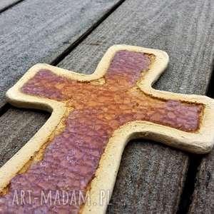 Krzyżyk na ścianę ceramika i szkło 12 - ,krzyż,krzyżyk,ceramika,fusing,szamot,
