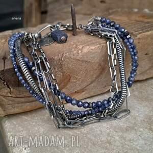 szafiry - bransoletka 09, szafir, srebro oksydowane, szafiry