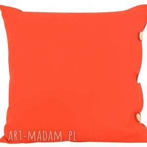 poduszka dekoracyjna zapinana na guziki 45x45cm, czerwona, guziki, bawełna