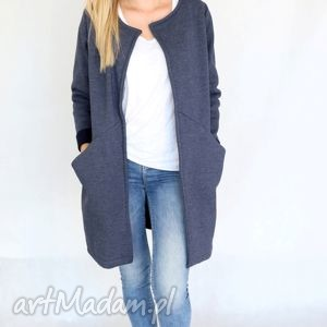 płaszcz długi l- xl narzutka jeans - bawełna, dzianina, wiosna, eko