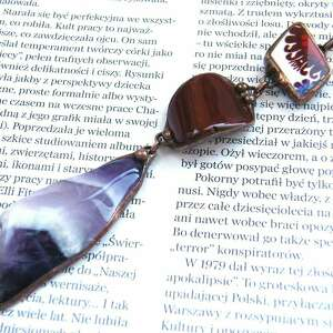 Wisior z łańcuszkiem: Etno bordowo-fioletowy, długi-naszyjnik, wisior-z-kamieni