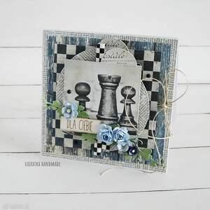kartka dla szachisty 482 vairatka handmade - czarne, imieniny, urodziny