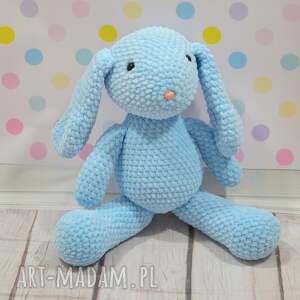 Szydełkowy mały króliczek z dedykacją , królik, błękitny, szydełkowy, niebieski