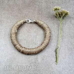 Surowy len - eko bransoletka, len, przędza, naturalna, surowa, prosta, ekologiczna