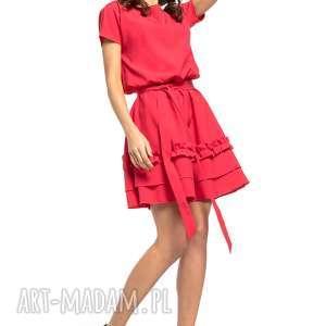 Sukienka z ozdobną falbanką na spódnicy, T267, czerwony, elegancka, sukienka