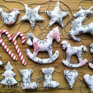 kuferek-malucha bombki szyte bawełniane handmade zestaw 16 - święta