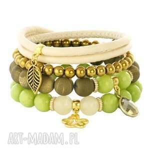 ręcznie robione bransoletki zarina 3 - old gold & green