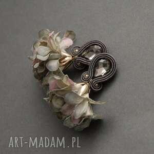 świąteczny prezent, klipsy sutasz z kwiatkiem, sznurek, wyjściowe, długie