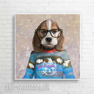 obraz na płótnie beagle bryl 100x100 cm, obraz, nowoczesny, design, beagle