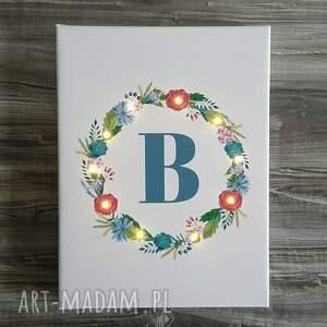 dekoracje świecący obraz wianek litera prezent dla niej urodziny, prezent