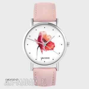 zegarki zegarek yenoo - mak skórzany, pudrowy róż, zegarek, pasek