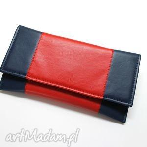 pod choinkę prezent Kopertówka - granat i środek czerwony, elegancka, nowoczesna