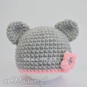 czapeczka olivia - szaro różowa z uszkami, czapka, miś, zimowa, ubranko, szalik