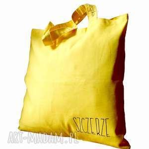 Żółta torba bawełniana, kieszonka, malowane,