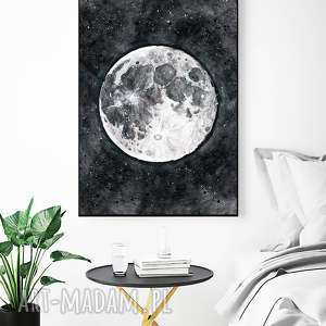 Moon 50x70cm, plakat, plakaty, grafika, księżyc, gwiazdy, niebo