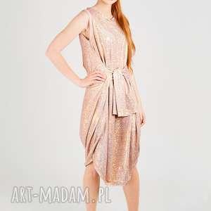 metaliczna sukienka tuba z wiązaniem, hologram, błyszcząca, połysk, metallic