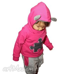 giggi różowa bluza puzzel r 122-158, bluza, kaptur, puzzel