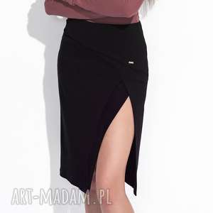 czarna spódnica z rozporkiem, z-rozporkiem, elastyczna, naturalny-materiał