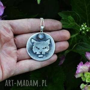 naszyjniki wredny rychu, kot, kociara, srebrny, kammień księżycowy