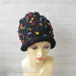 Czapka zimowa fantazyjna, kolorowa-czapka, unikalna-czapka, czarna-czapka
