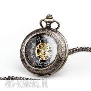 handmade zegarki elegancja czerni ii - zegarek na łańcuszku