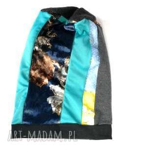 czapka damska patchworkowa kolorowa, czapka, etno, boho, patchwork, zima
