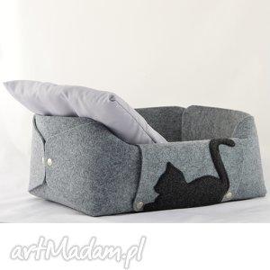 legowisko dla kota, posłanie poduszka szary filc