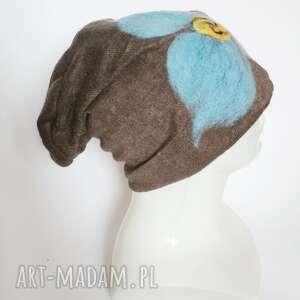 czapki filcowane wełniane -czapka handmade na podszewce, rozmiar