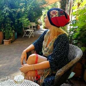 czapka damska dziewczęca patchworkowa kolorowa boho, czapka, etno, cekiny