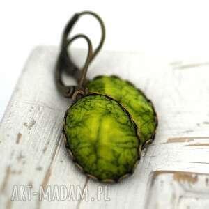późne lato kolczyki, kamień, brąz, zieleń, liść, natura biżuteria
