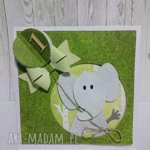 katka zaproszenie słonik w dżungli - słonik, las, kokarda, balon, urodziny