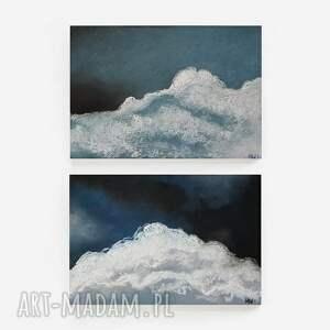 chmury-dwie prace wykonane pastelami, pastele, niebo, chmury