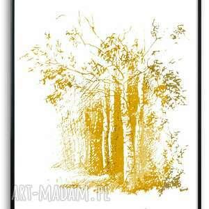 grafika w ramie złote drzewa 30x40, drzewa, na białym tle, piękne