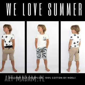 Komplet dla chłopca spodenki i koszulka , moro, krzyżyki