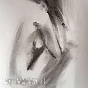 nude 50x70, duża grafika, duży obraz, kobieta czarno