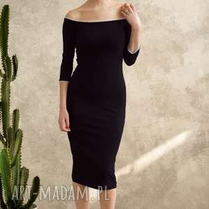sukienki sukienka z koronką midi, sukienka, czarna, uniwersalna, koronka, dopasowana