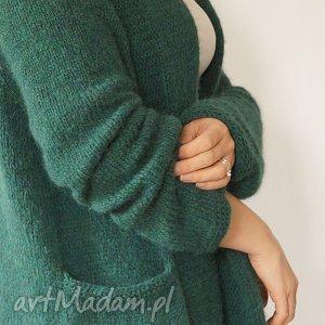 hand-made swetry szmaragdowy kardigan