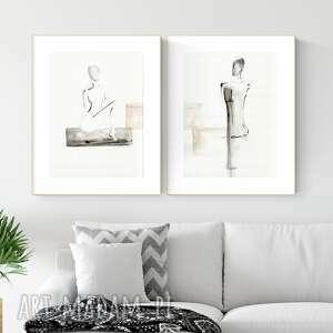 Zestaw 2 grafik 30x40 cm wykonanych ręcznie, abstrakcja kobieta