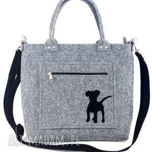 puppy on grey pocket/strap, torebka, filc, piesek, wygodna, codzienna na ramię