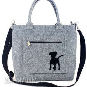 Puppy on grey pocket/strap - ,torebka,filc,piesek,wygodna,codzienna,