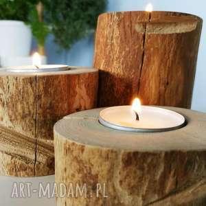 zestaw 3 świeczników drewno - ,świeczniki,świeczka,drewno,drewniane,skandynawskie,